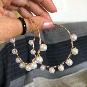 Gold Hoop Earrings with Pearls